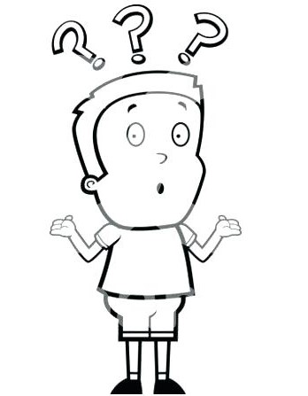 Question Mark Coloring Page Question Mark Colouring Pages Cartoon Of A Black And White Confused Boy Shrugging Under Marks Vector Question Mark Colouring Pages Emblem Properties